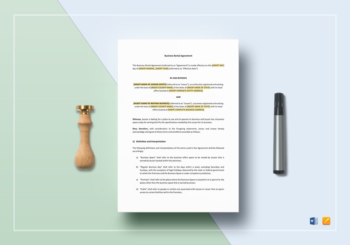 Business Rental Agreement