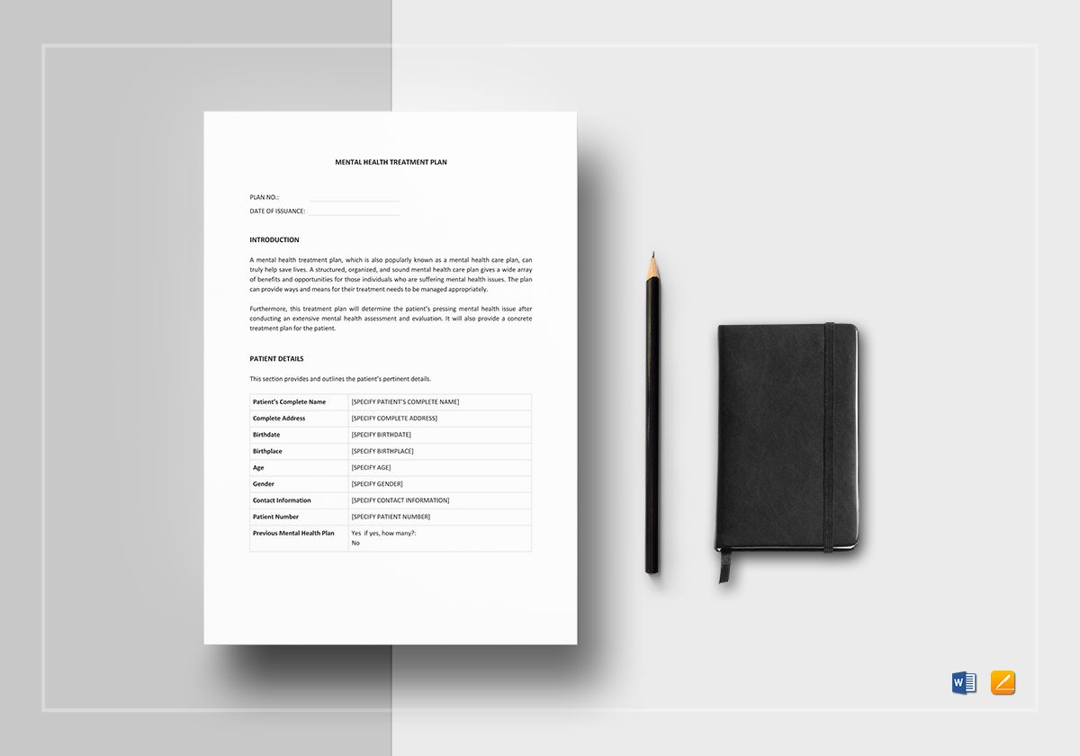Mental Health Treatment Plan Template In Word Apple Pages