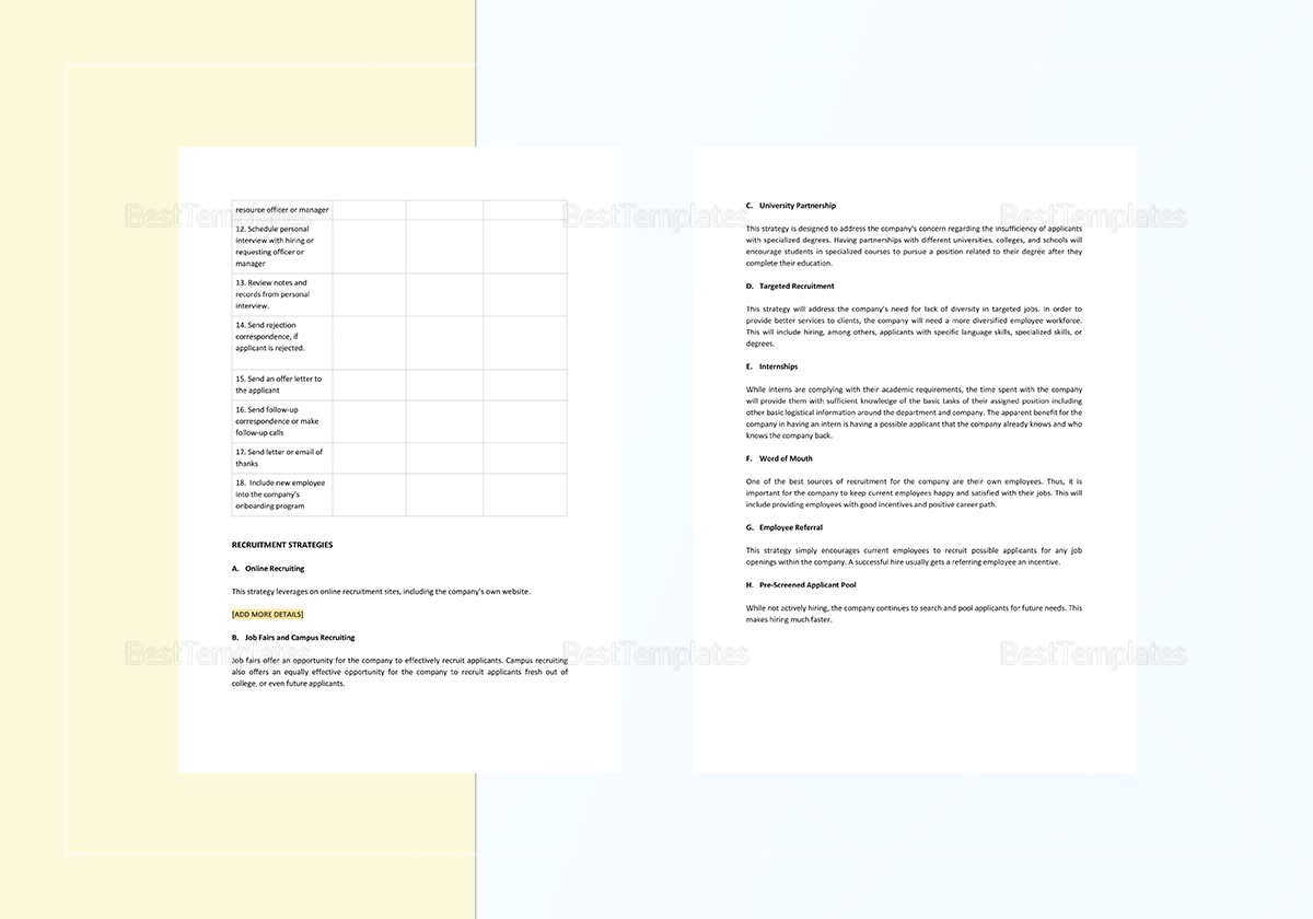 Sample Recruitment Plan Template