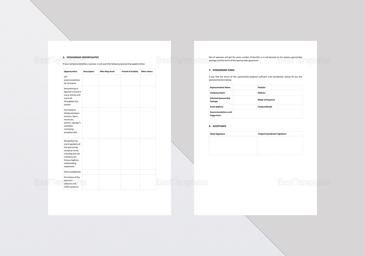 Fully Editable Corporate Sponsorship Proposal Template