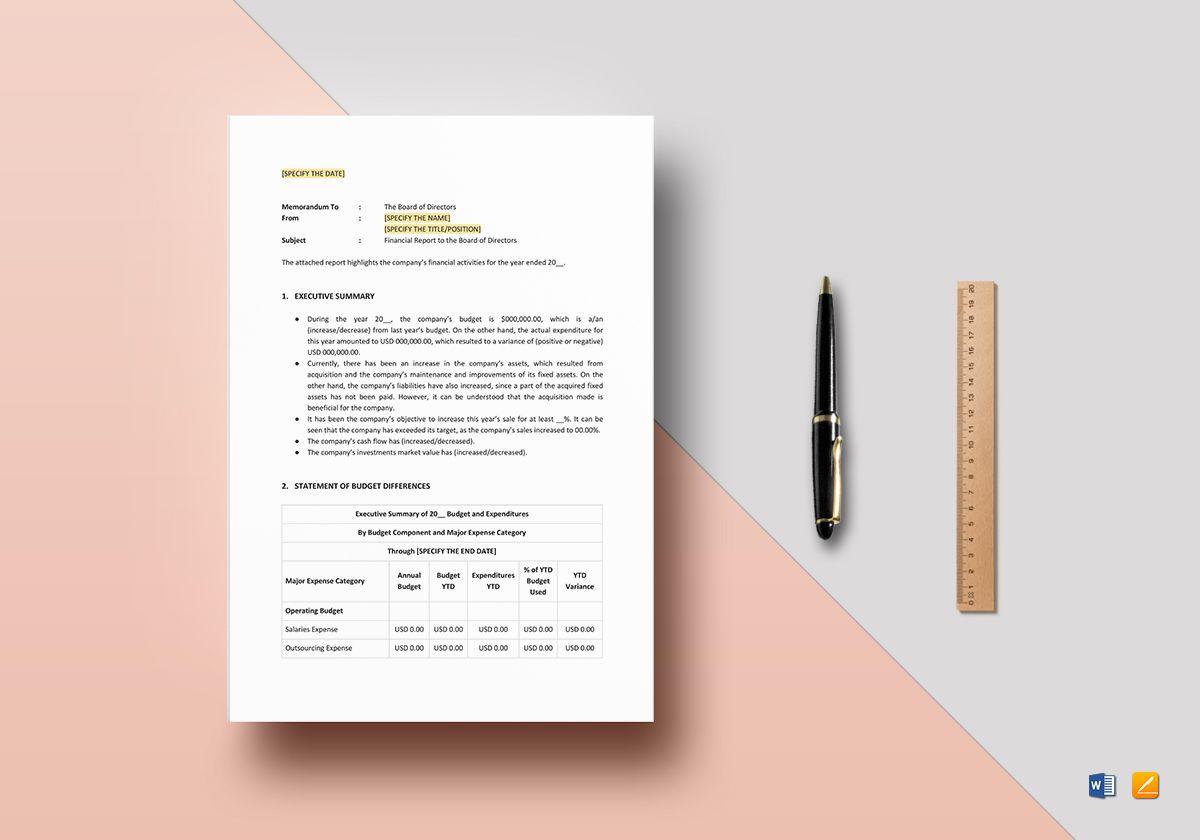 Board of Directors Financial Report