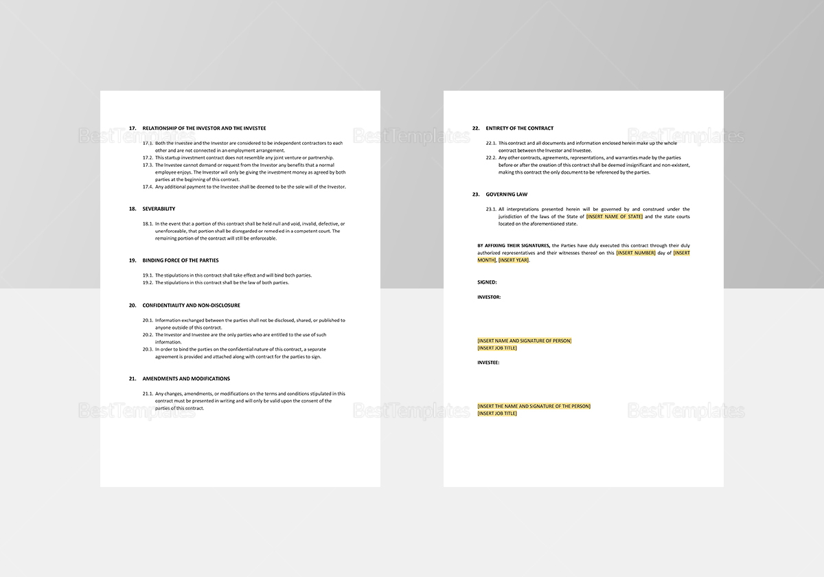 Sample Startup Investment Contract Template
