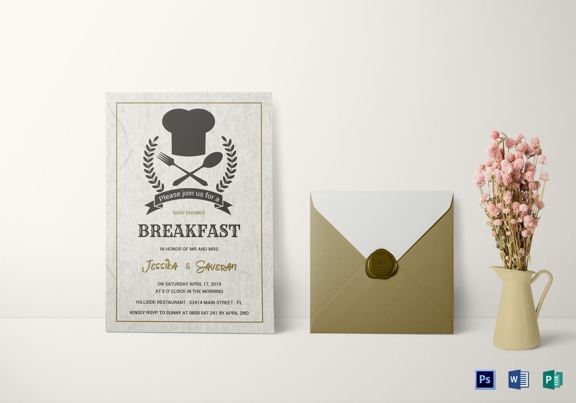 baby shower breakfast invitation design template in word psd publisher