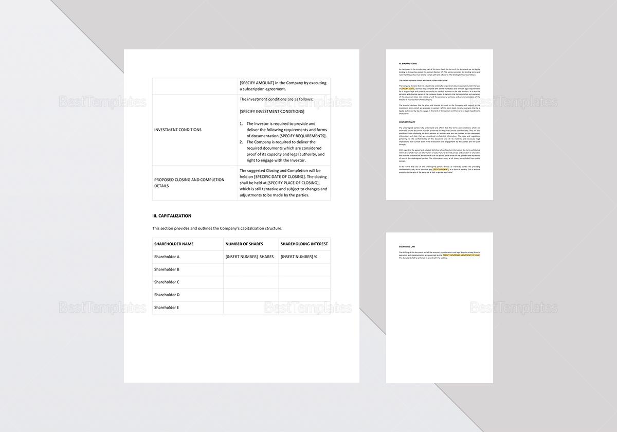 Printable Term Sheet Template