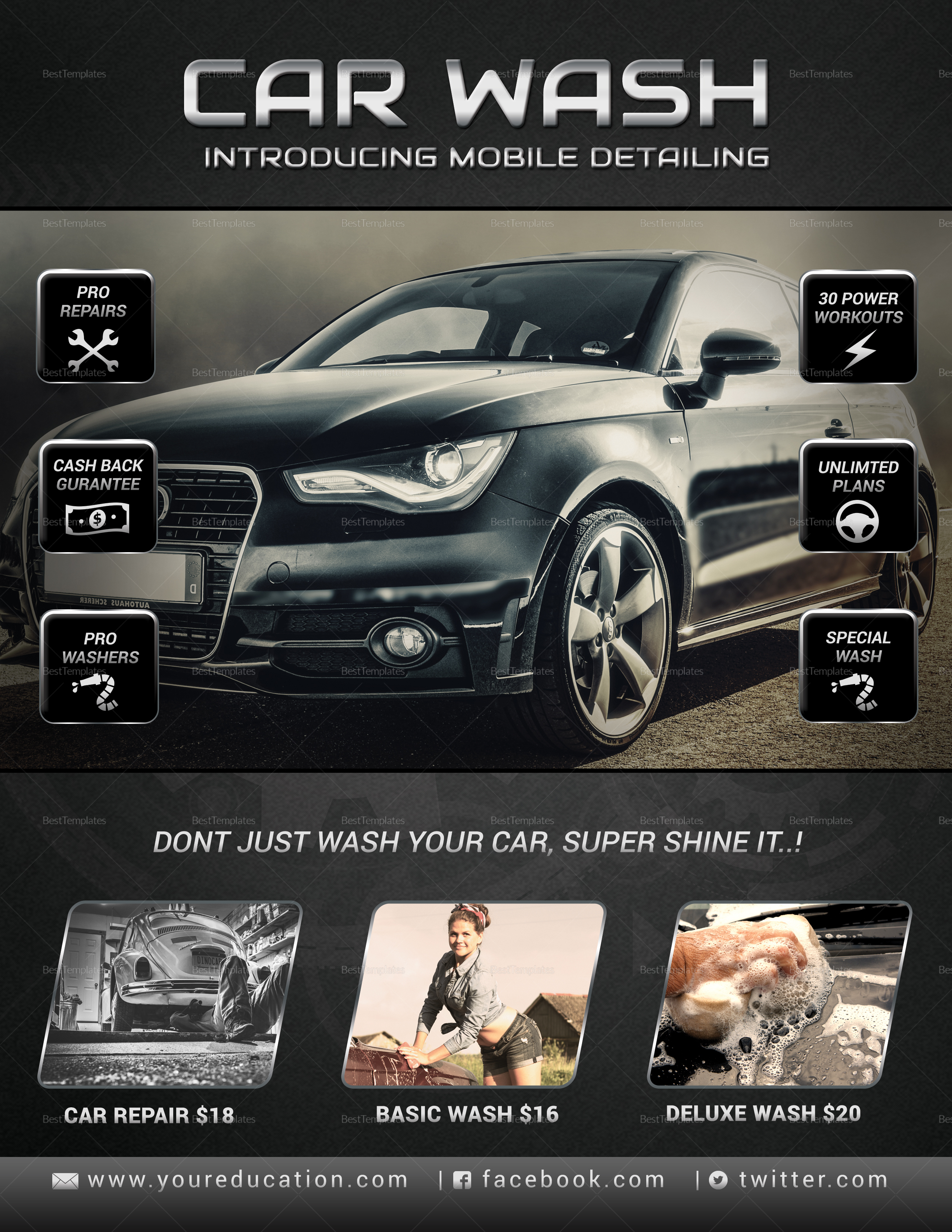 car wash and repair service flyer design template in word