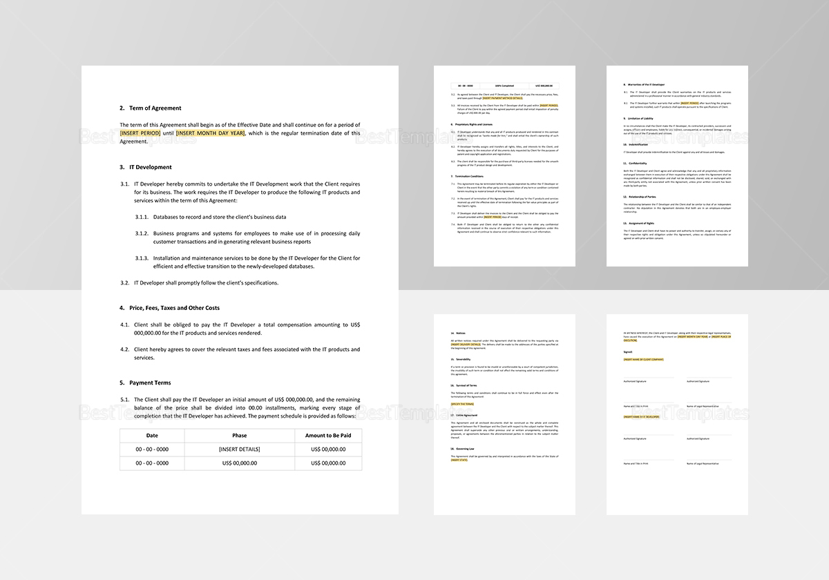 IT Development Agreement Template