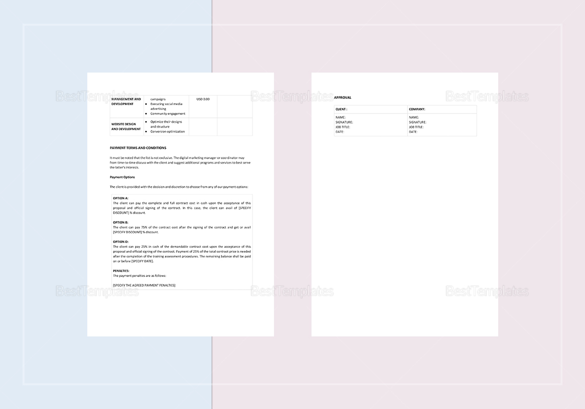 Digital Marketing Proposal Template to Print