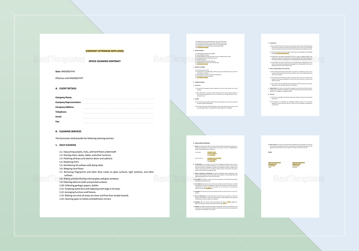 Sample Office Cleaning Contract Template