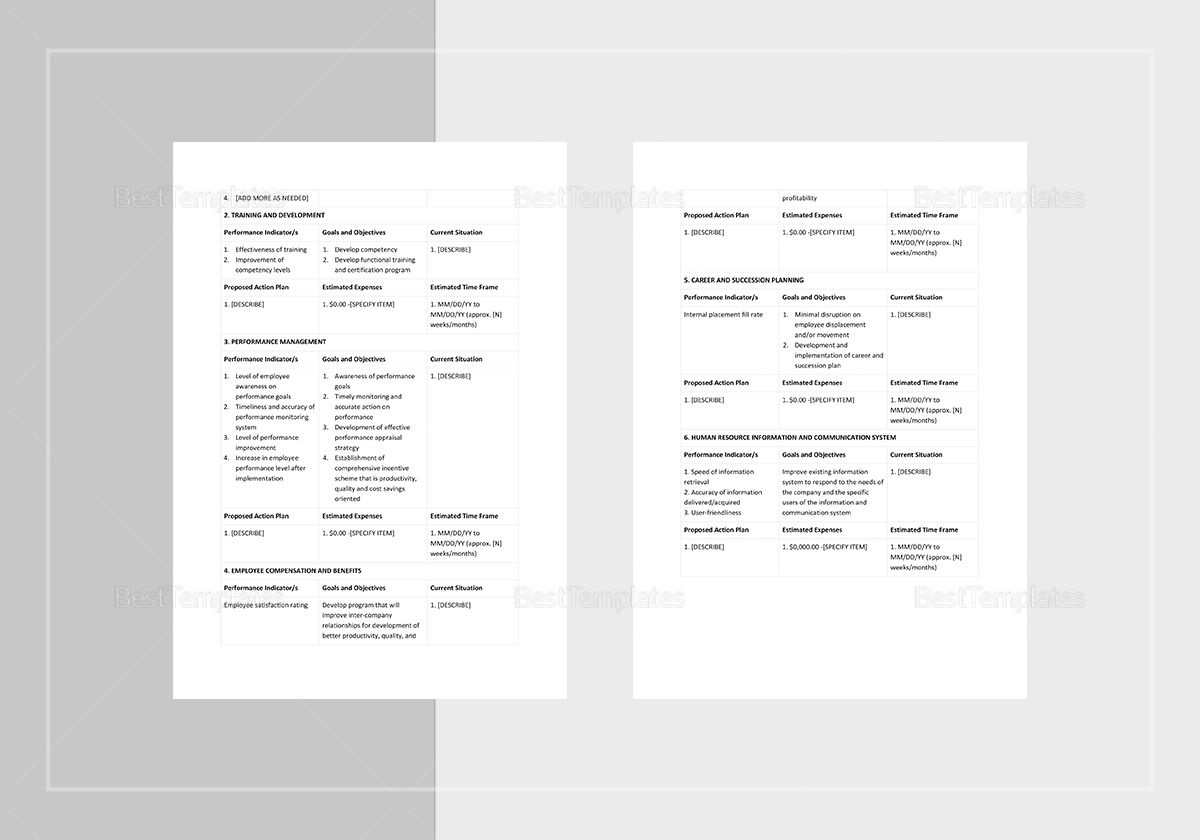 Human Resources Development Plan Template to Print
