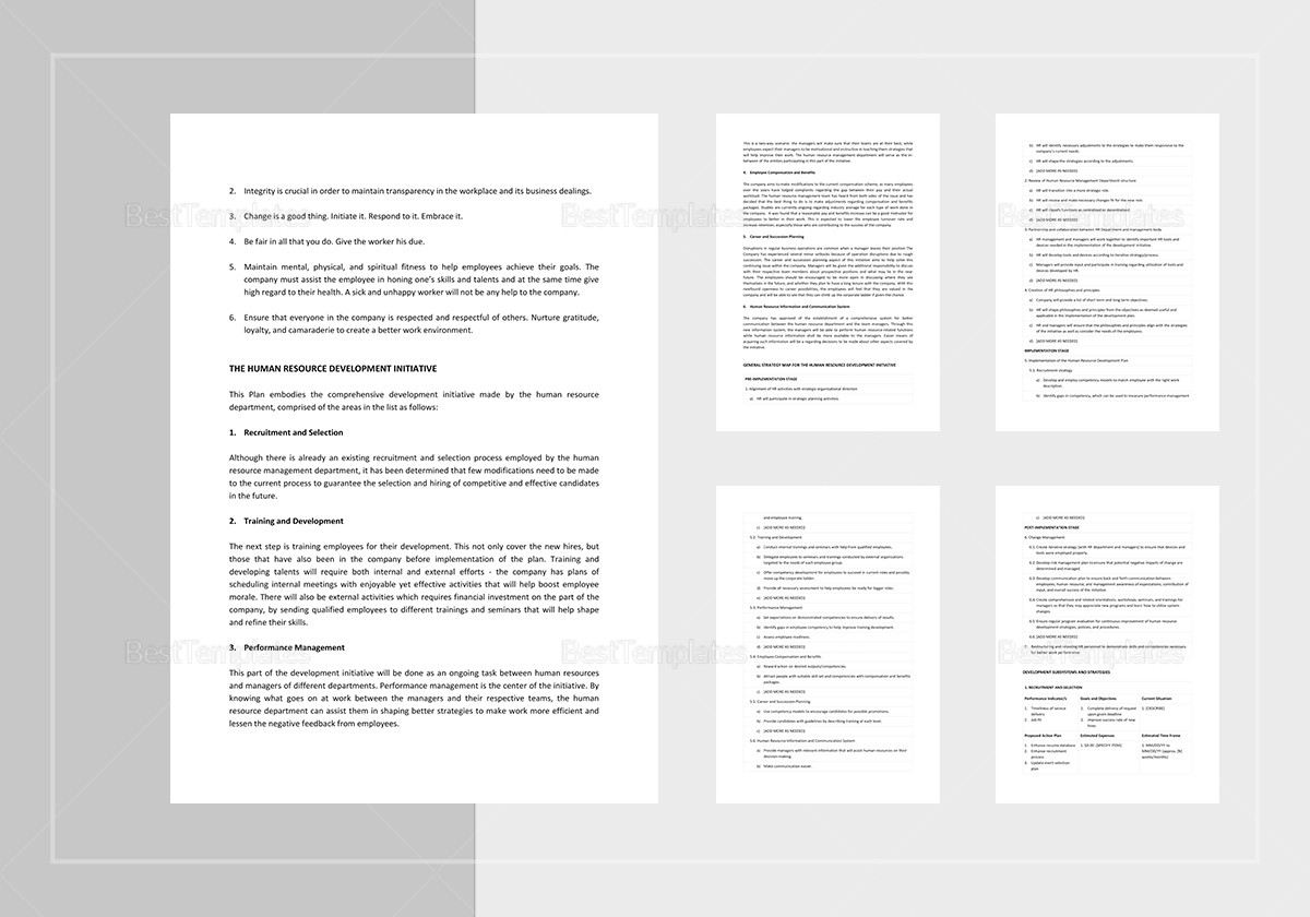 Human Resources Development Plan Template to Edit