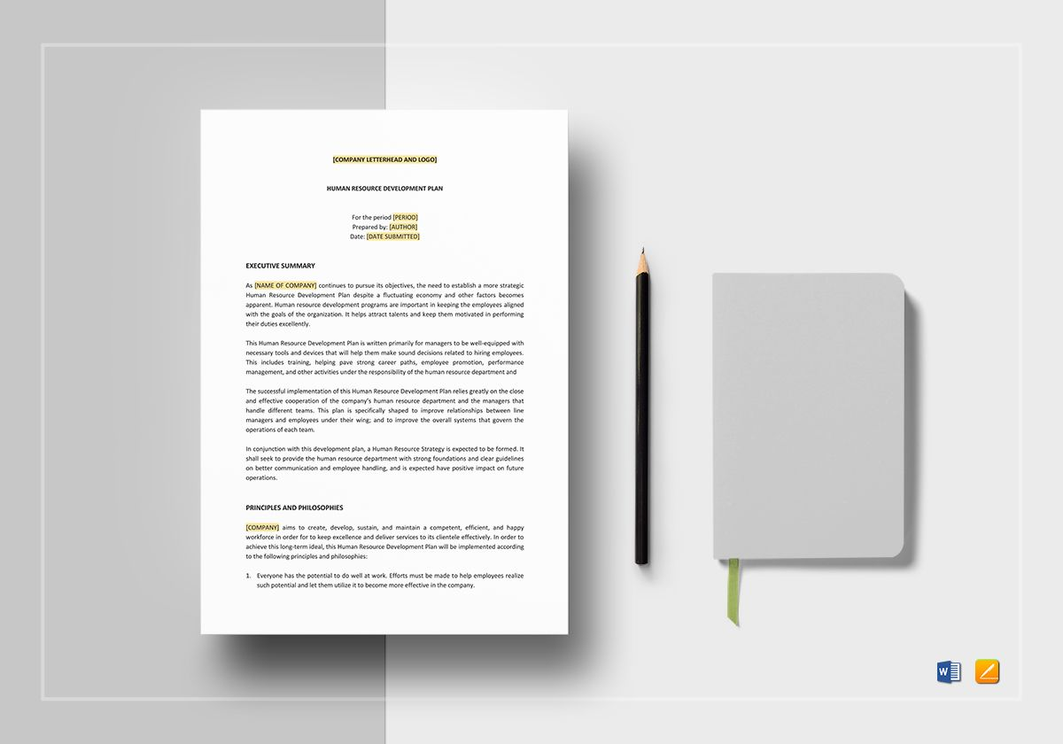 Human Resources Development Plan Template in Word, Apple Pages