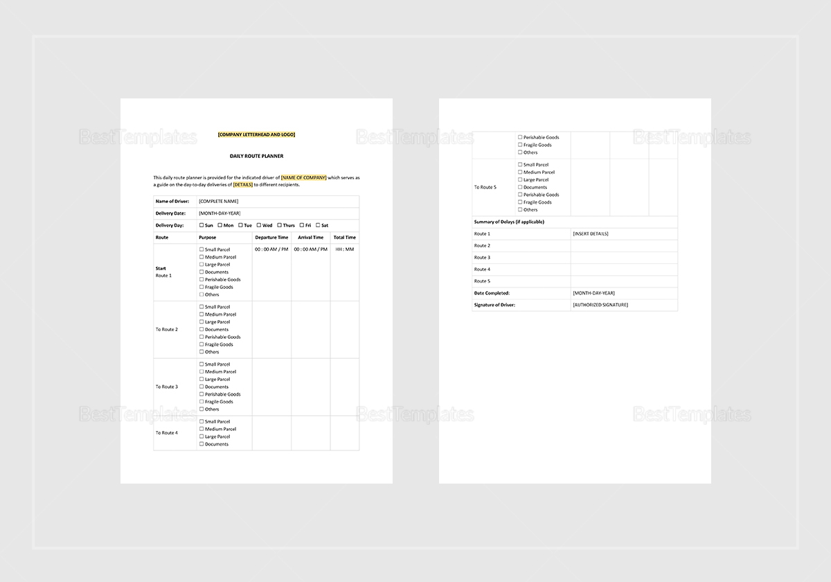 Printable Daily Route Planner Template