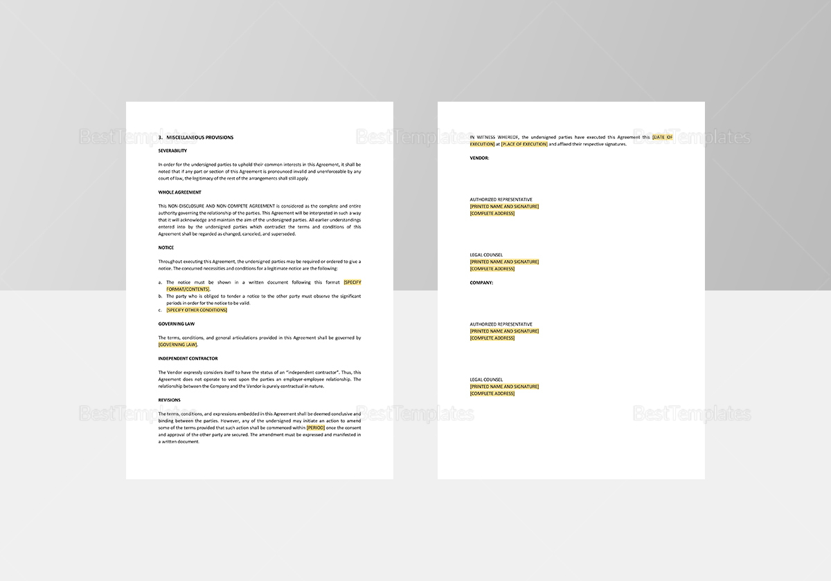 Sample Vendor Non Compete Agreement Template