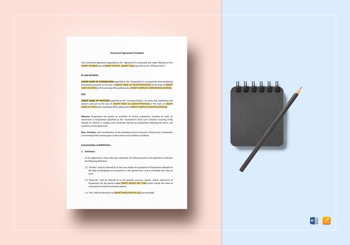 Investment Agreement Template