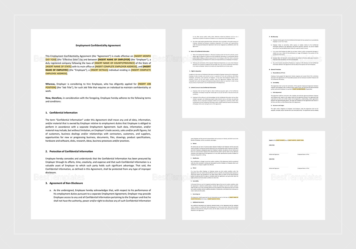 Sample Employment Confidentiality Agreement Template