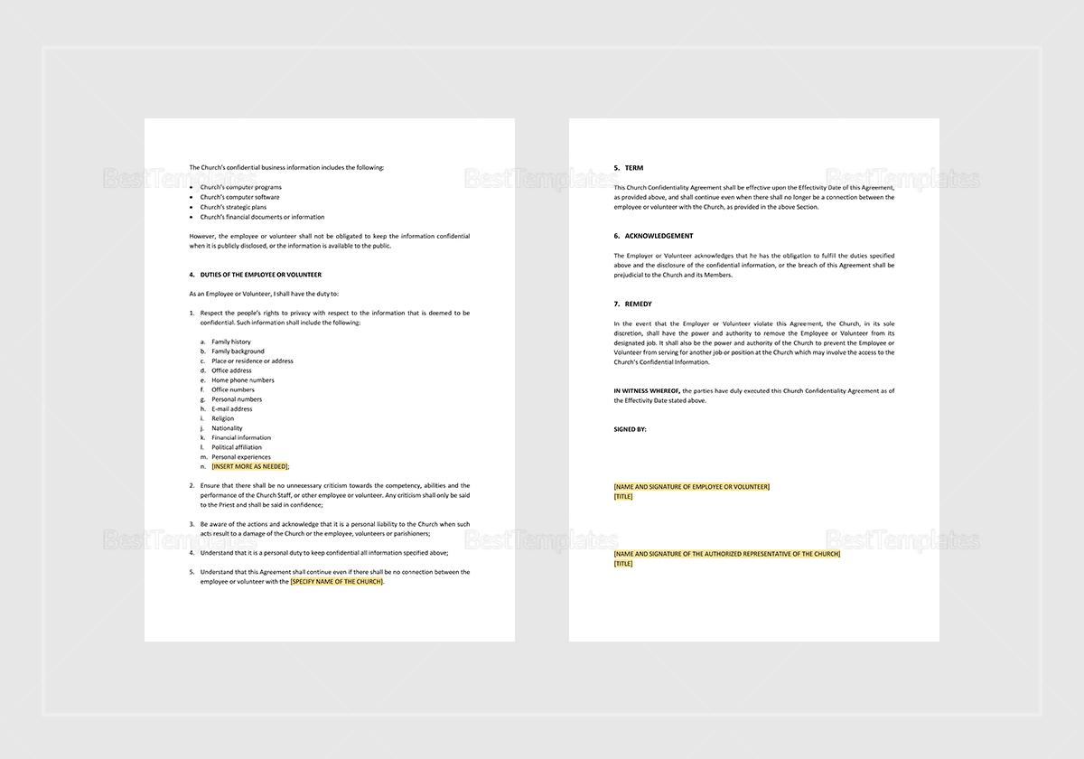 Editable Church Confidentiality Agreement Template