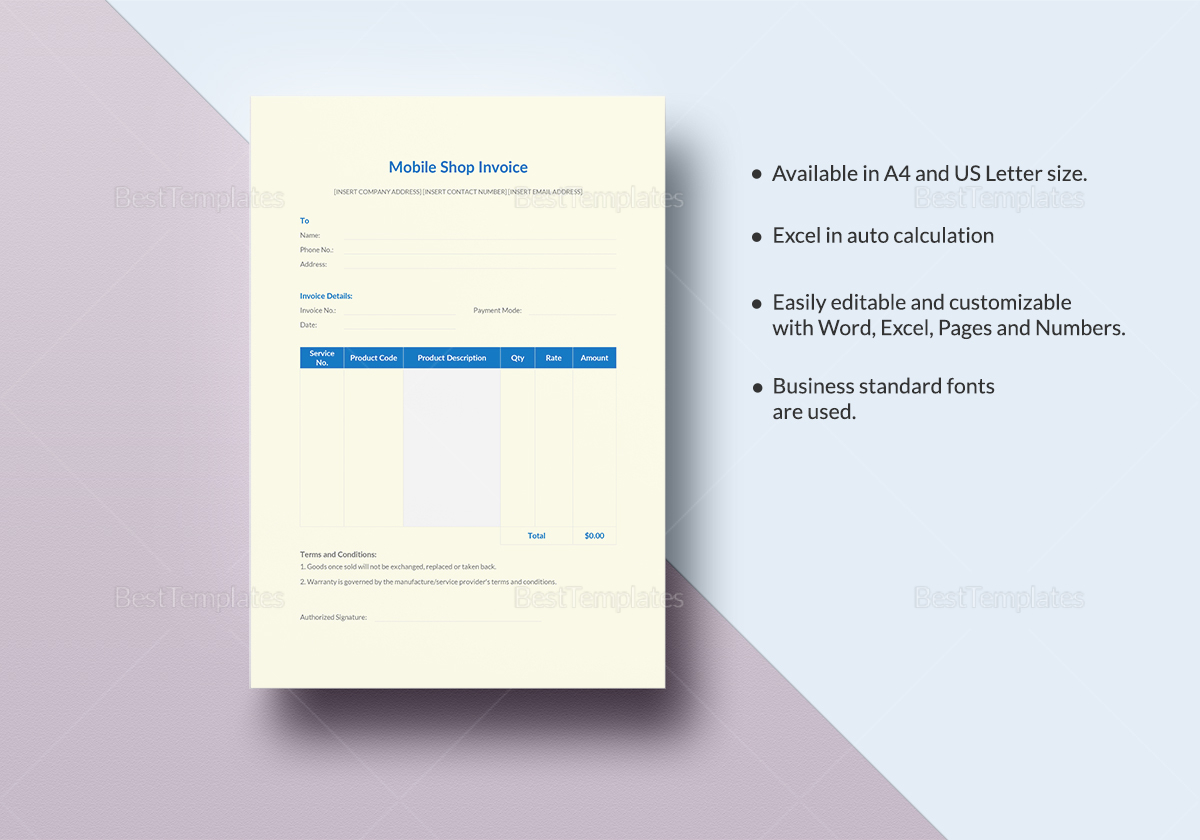 Sample Mobile Shop Invoice Template