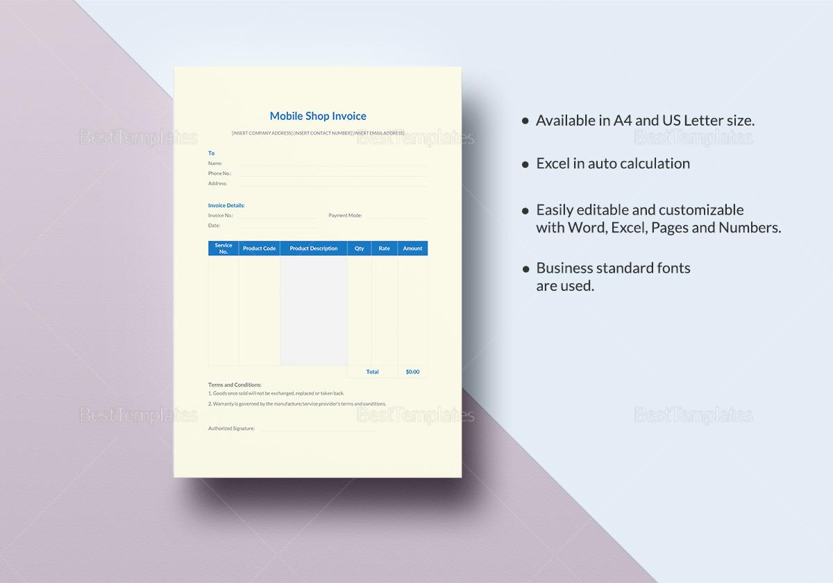Sample Mobile Shop Invoice Template