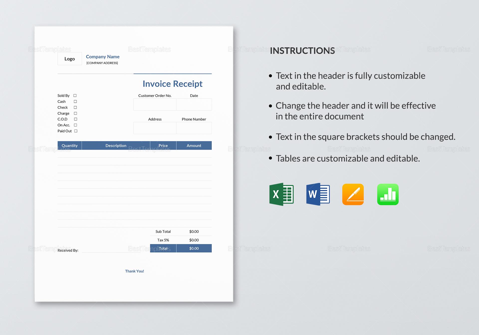 Sample Invoice Receipt Template