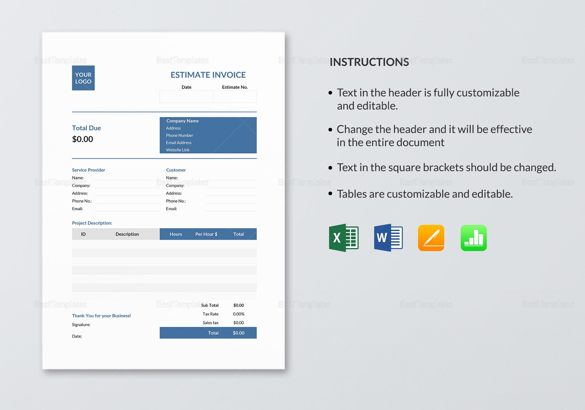 Estimate Invoice Template to Edit