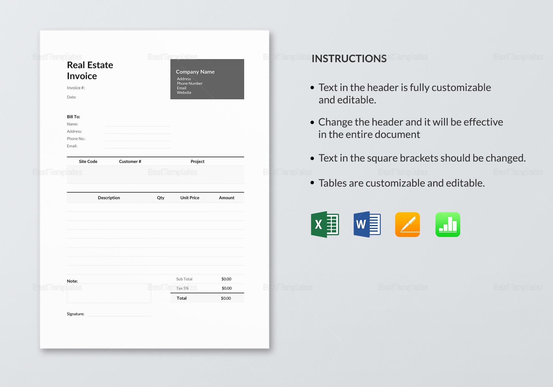 Printable Real Estate Invoice Template