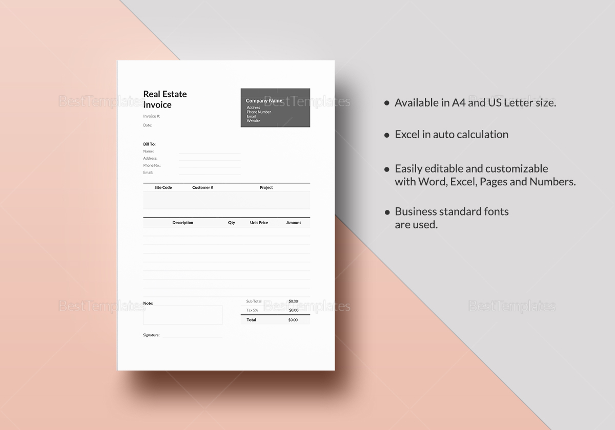 Editable Real Estate Invoice Template