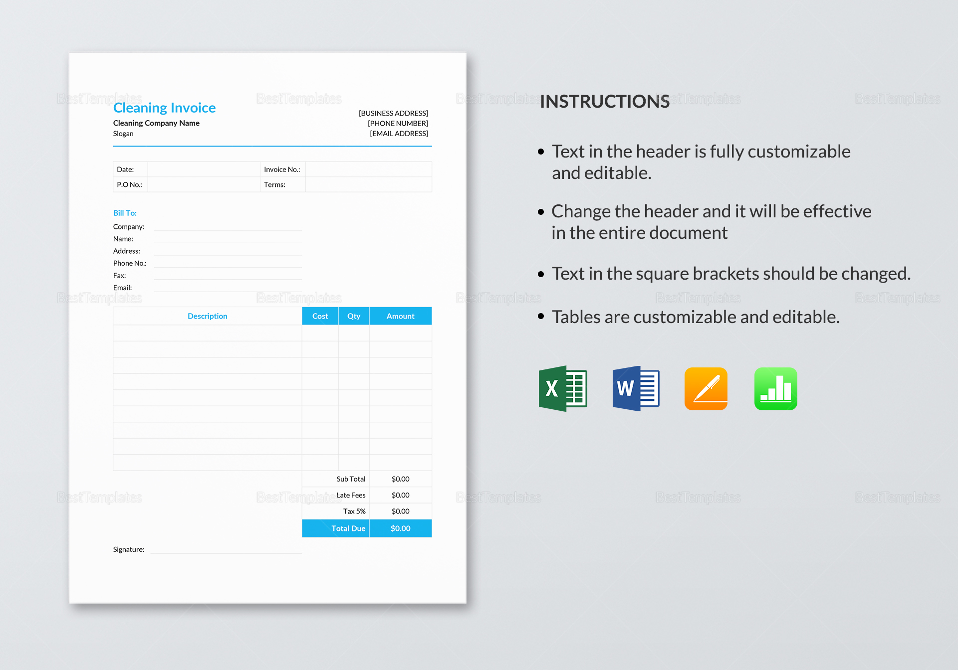 Sample Cleaning Invoice Template