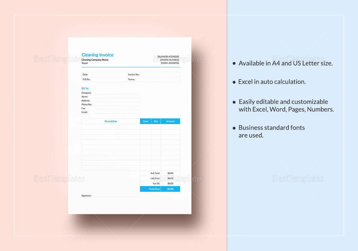 Simple Cleaning Invoice Template