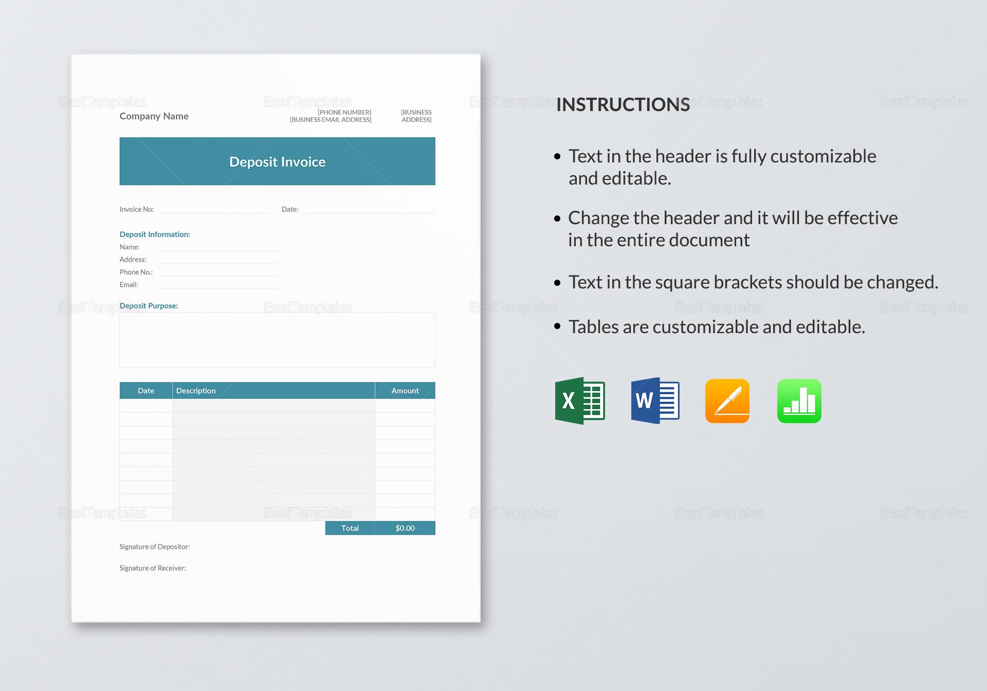 Editable Deposit Invoice Template