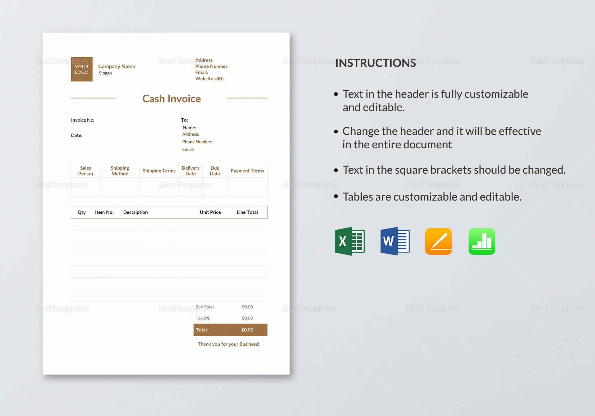 Sample Cash Invoice Template