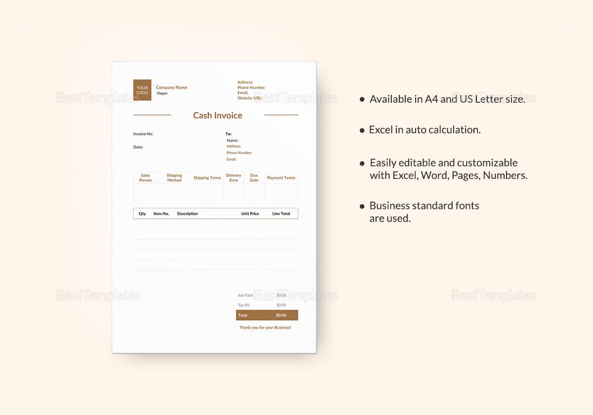 Simple Cash Invoice Template