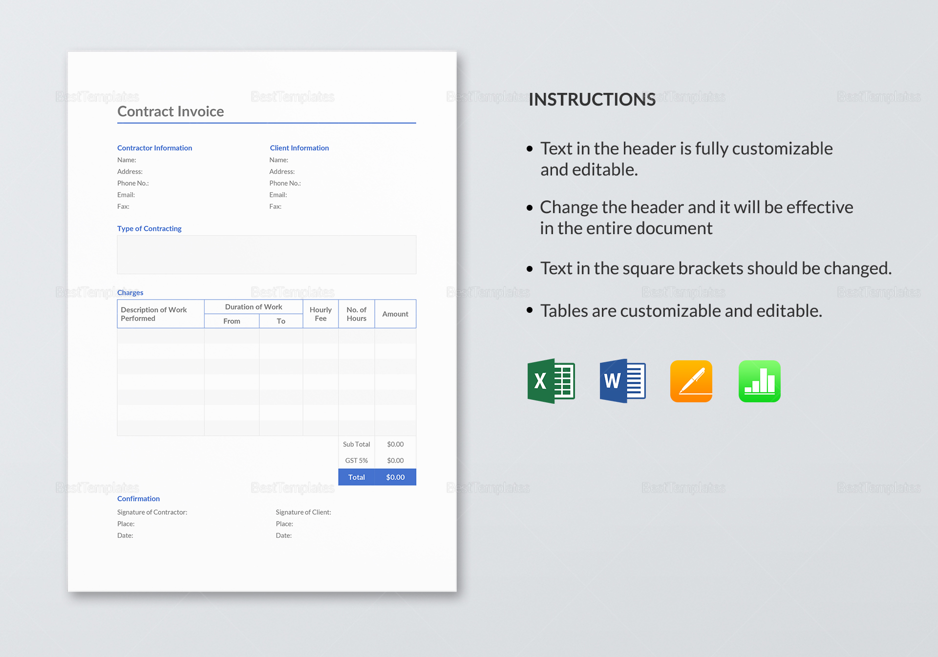 Fully Editable Contract Invoice Template