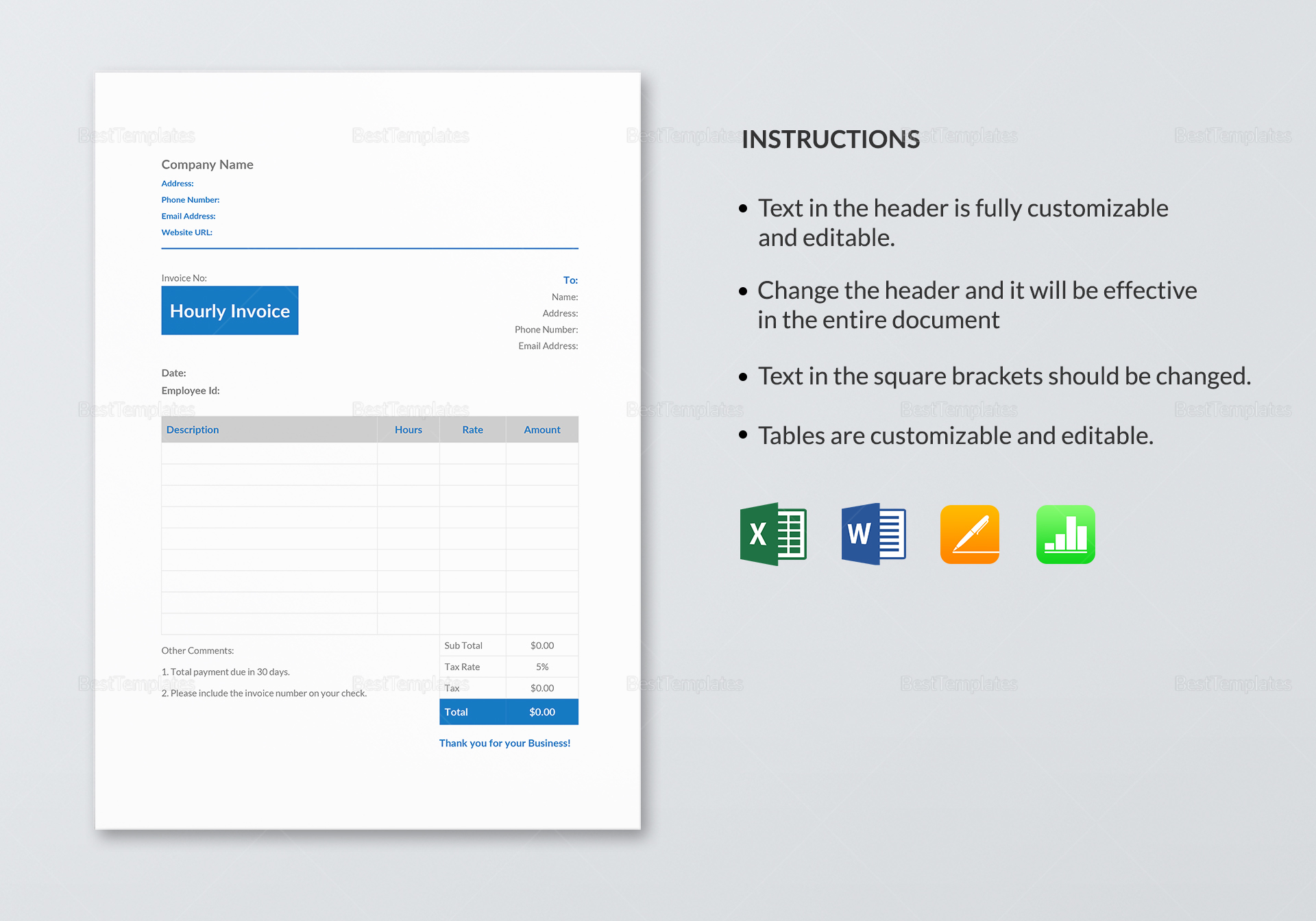 Hourly Invoice Template to Print