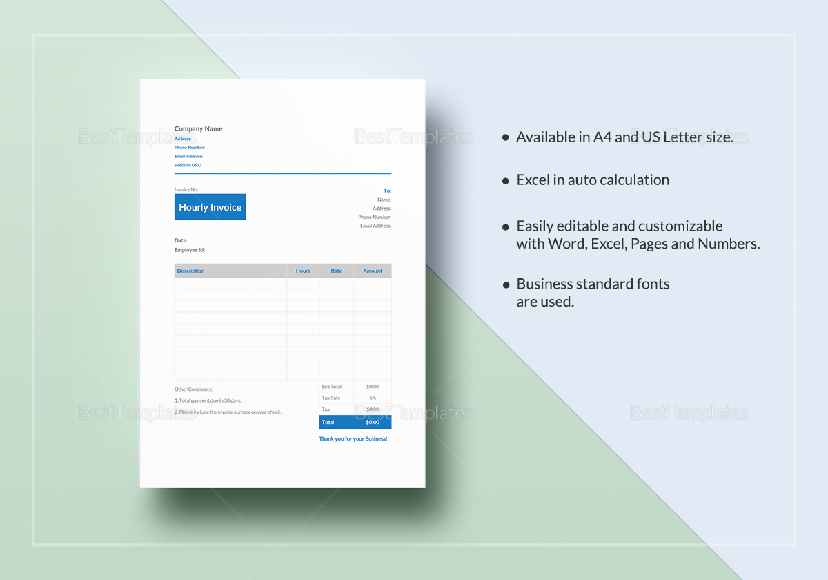 Hourly Invoice Template to Edit