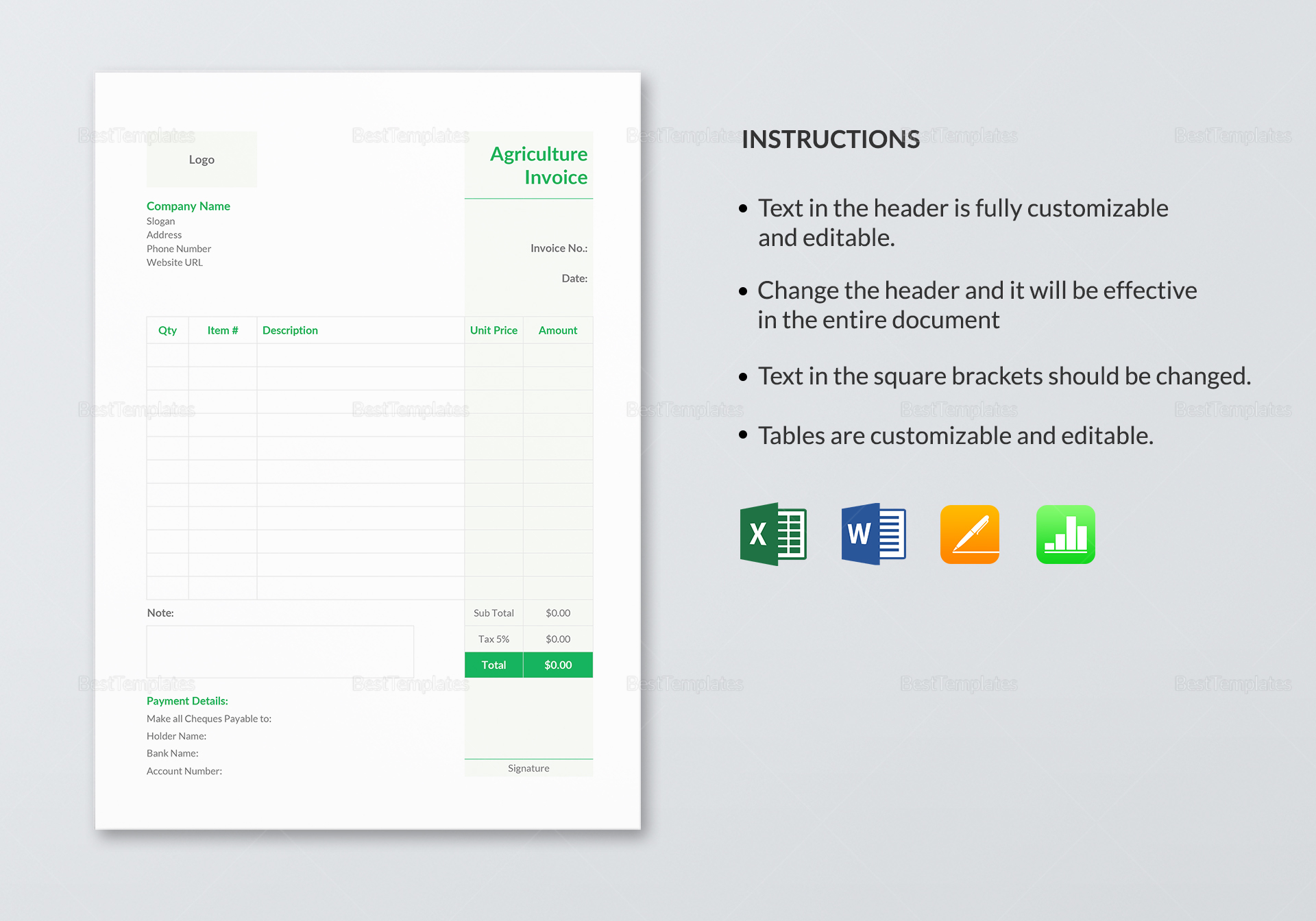 Sample Agriculture Invoice Template