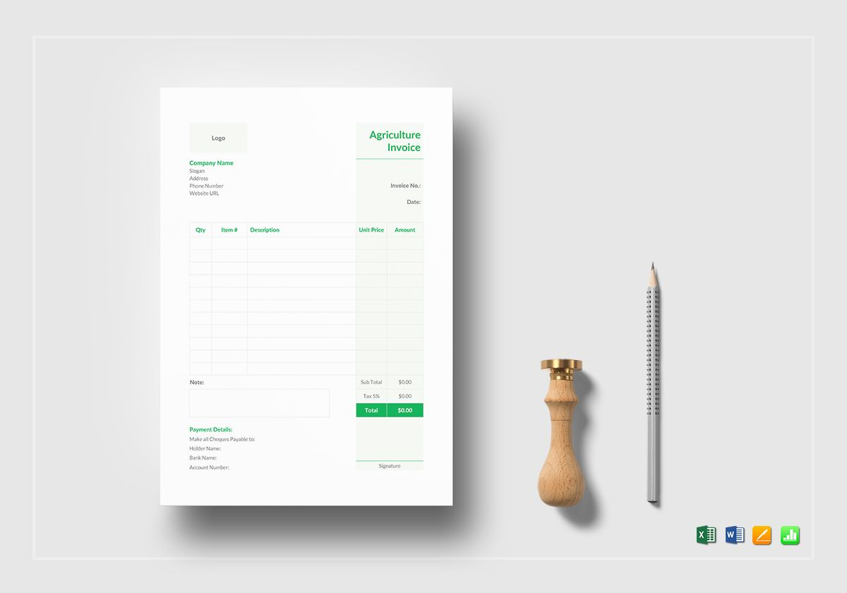 Agriculture Invoice Template in Word, Excel, Apple Pages
