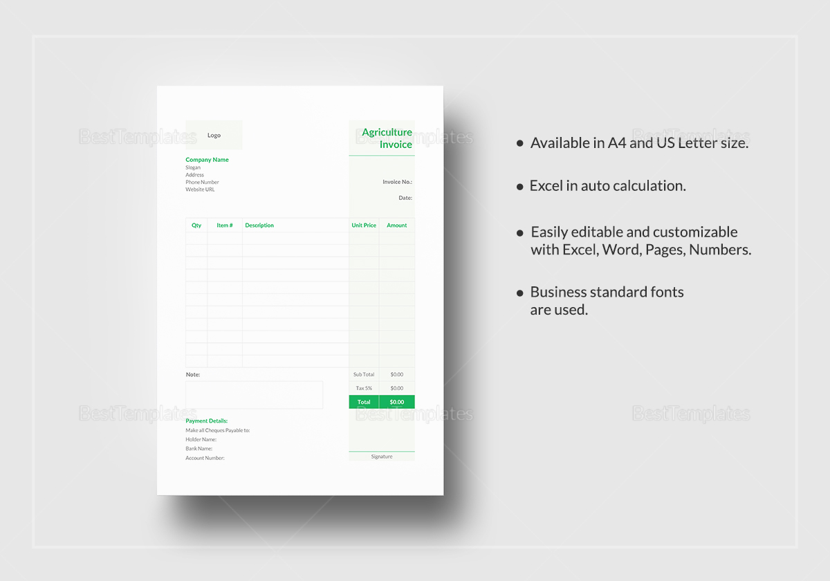 Simple Agriculture Invoice Template