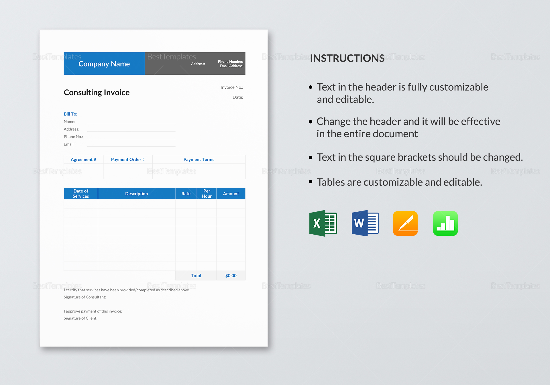 Printable Consulting Invoice Template