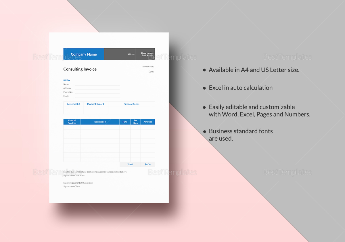 Consulting Invoice Template to Print