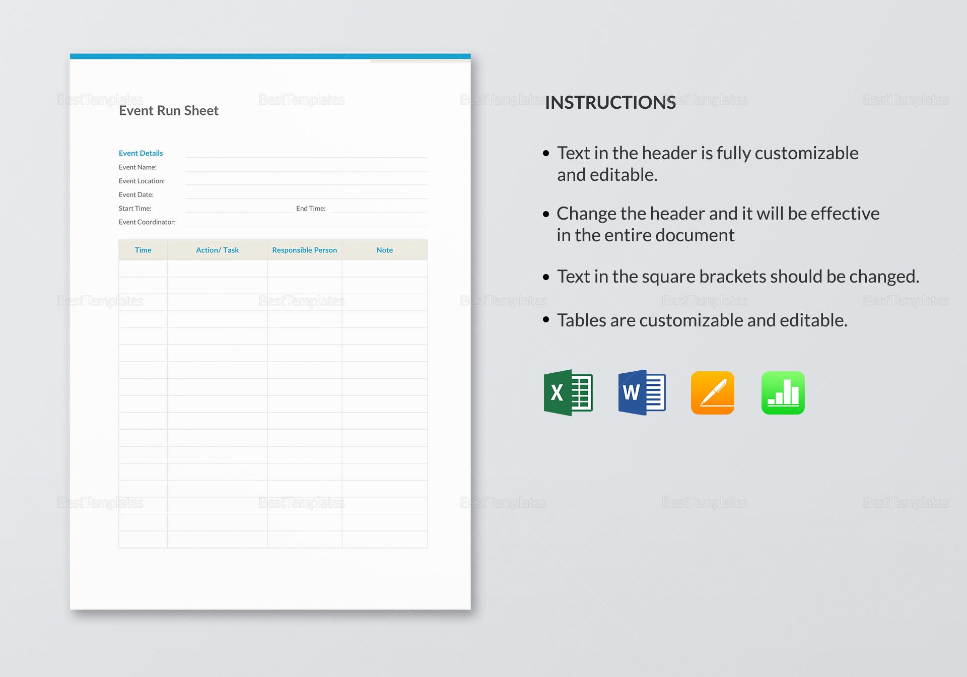 Event Run Sheet Template to Edit