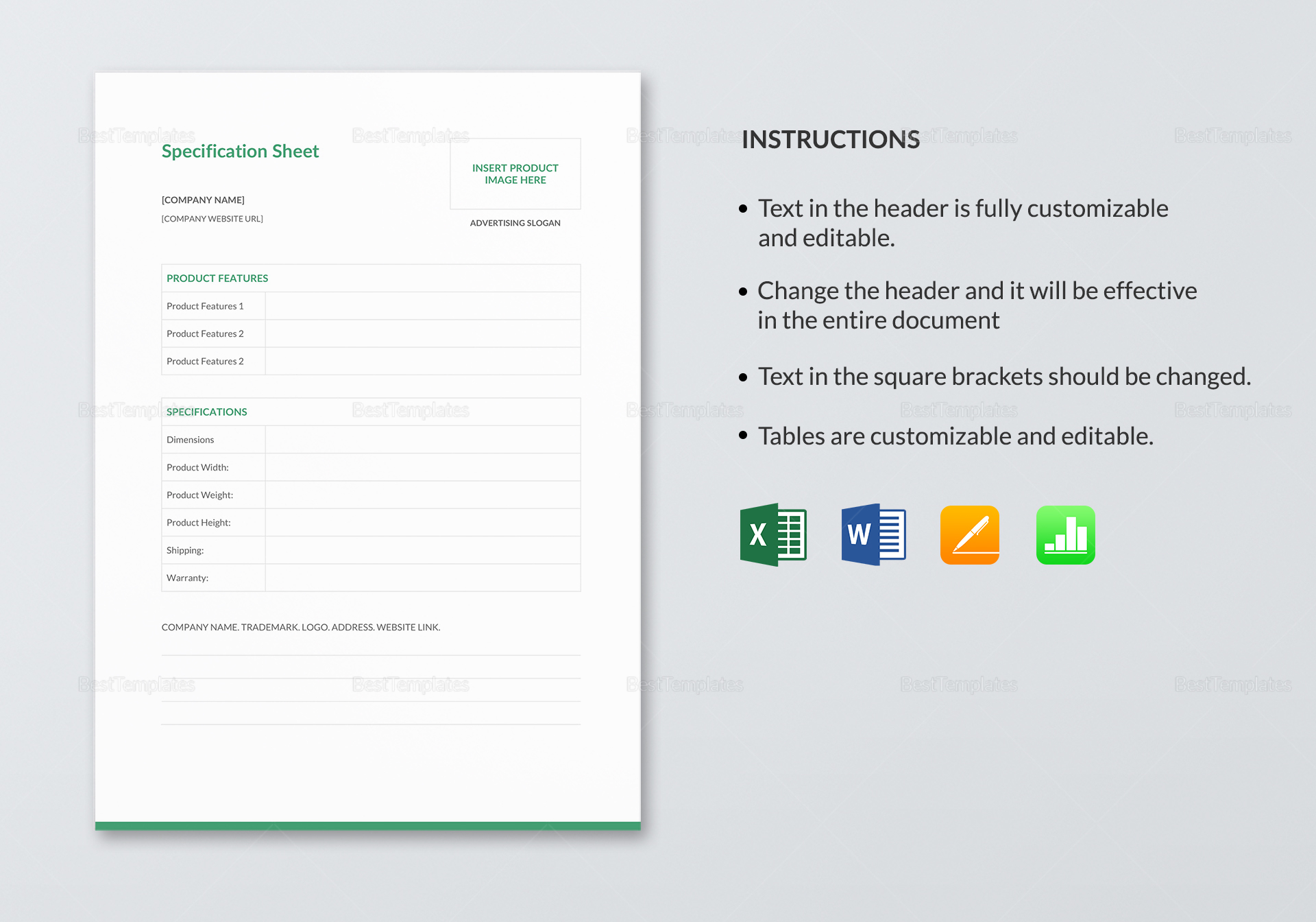 Sample Specification Sheet Template