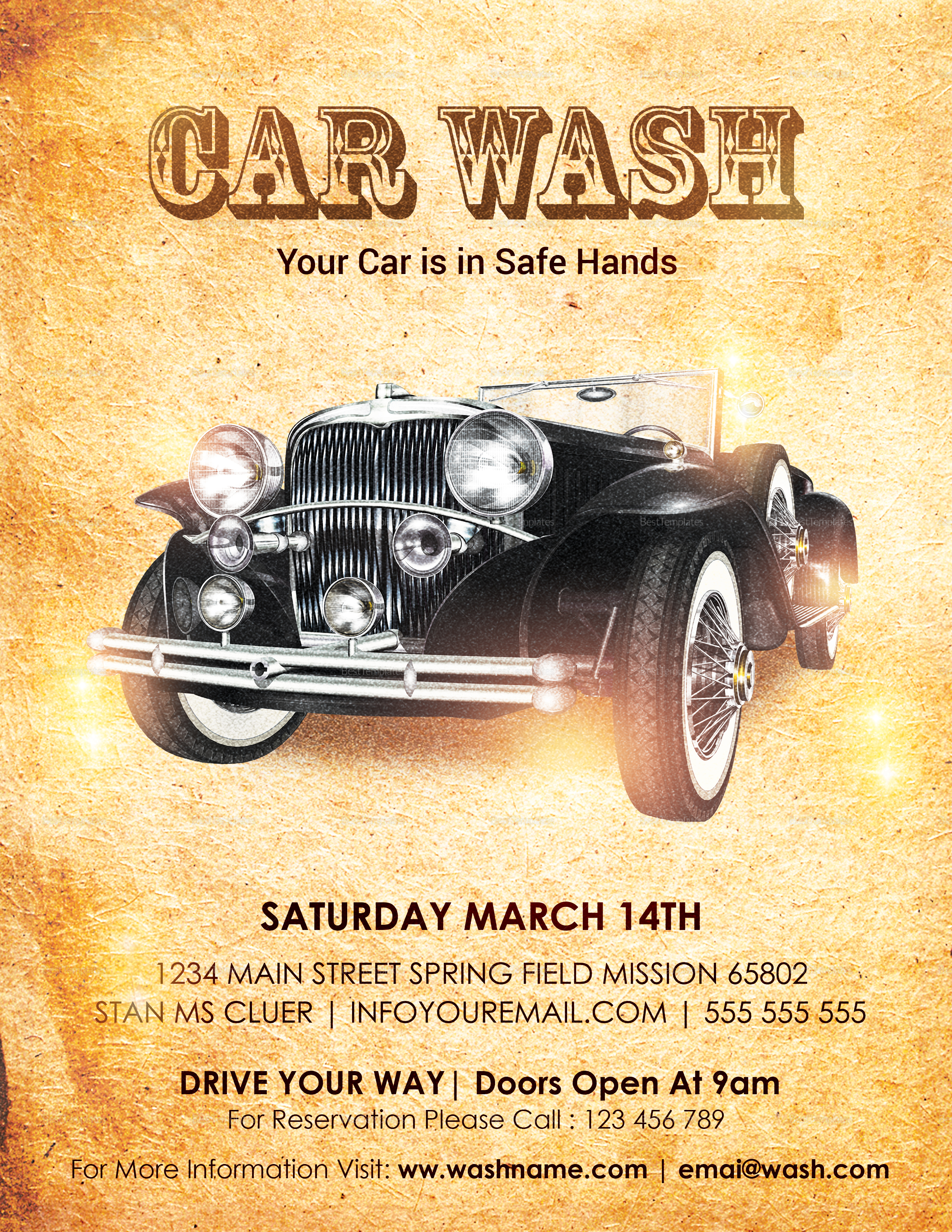 Vintage Car Wash Flyer Template