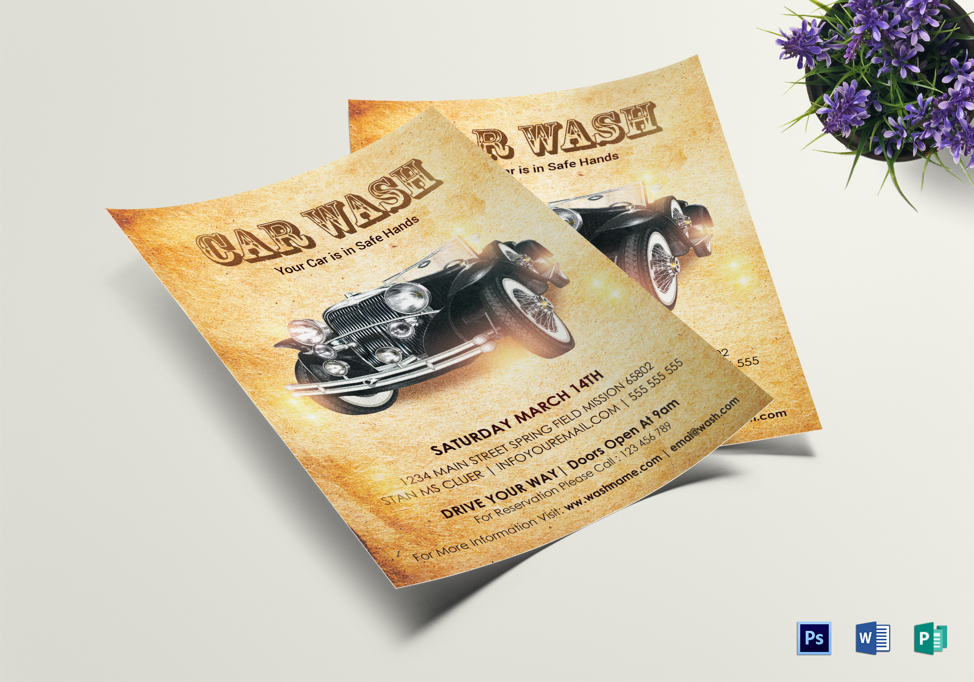 Vintage Car Wash Flyer