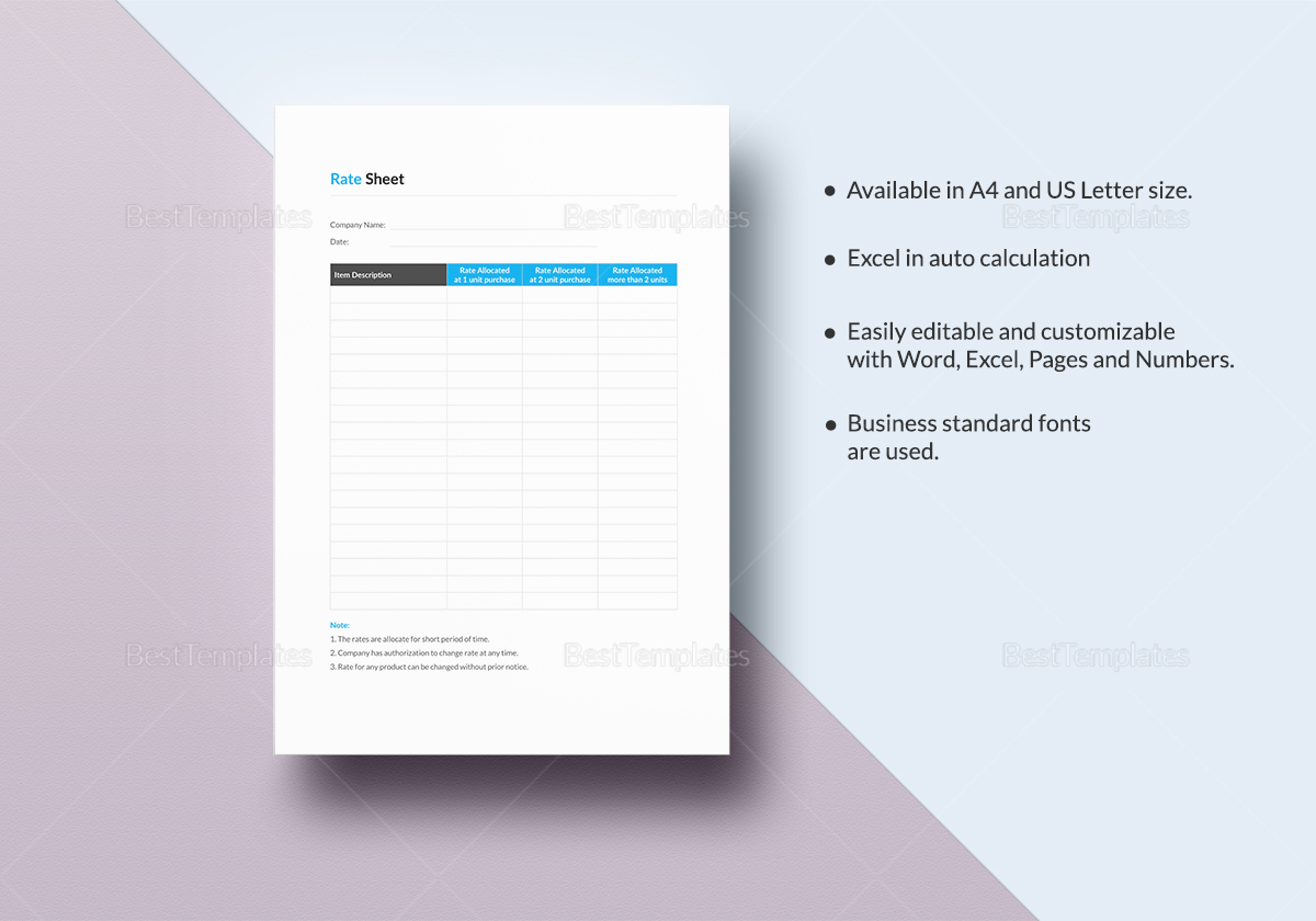 Simple Rate Sheet Template