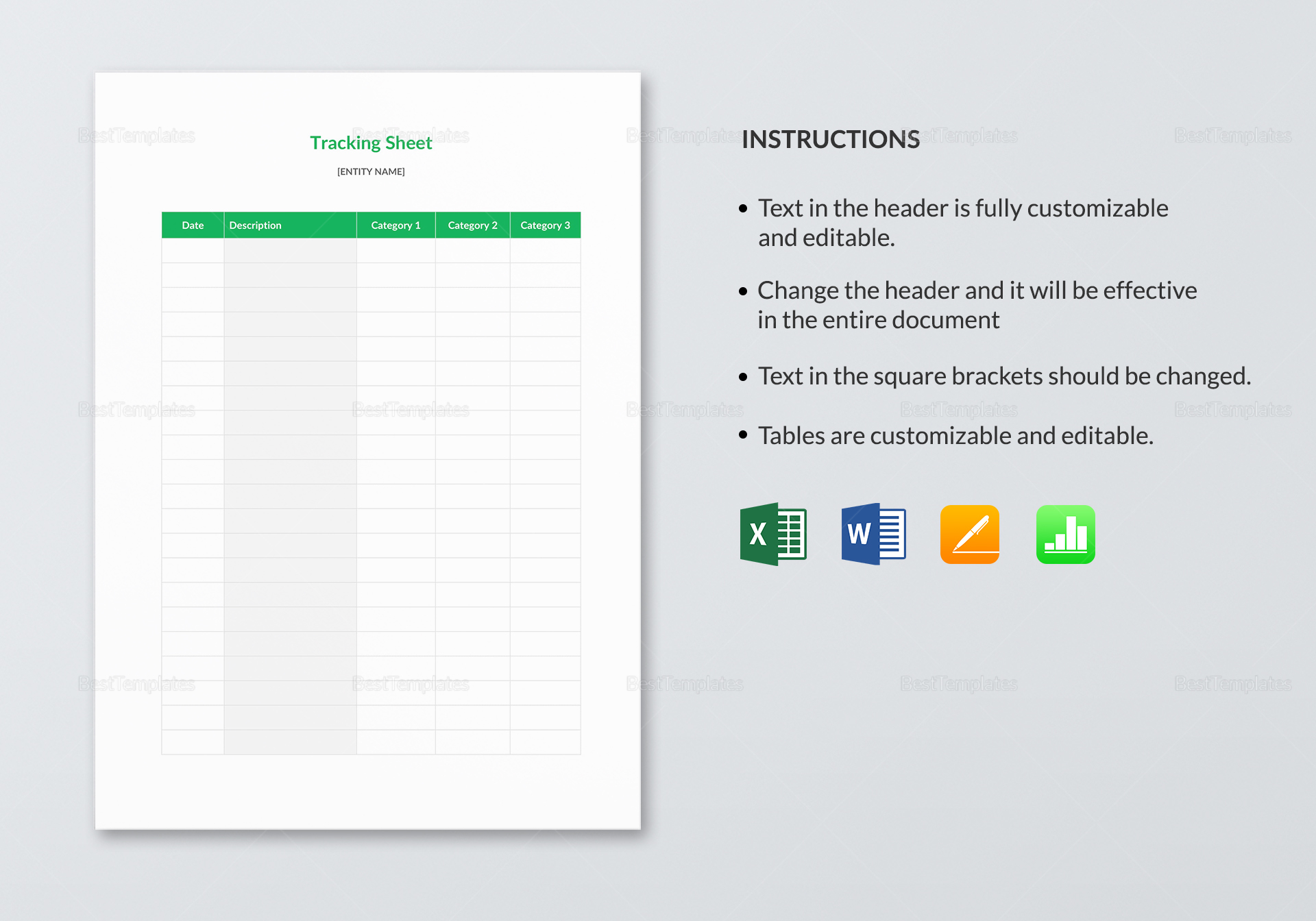 Sample Tracking Sheet Template