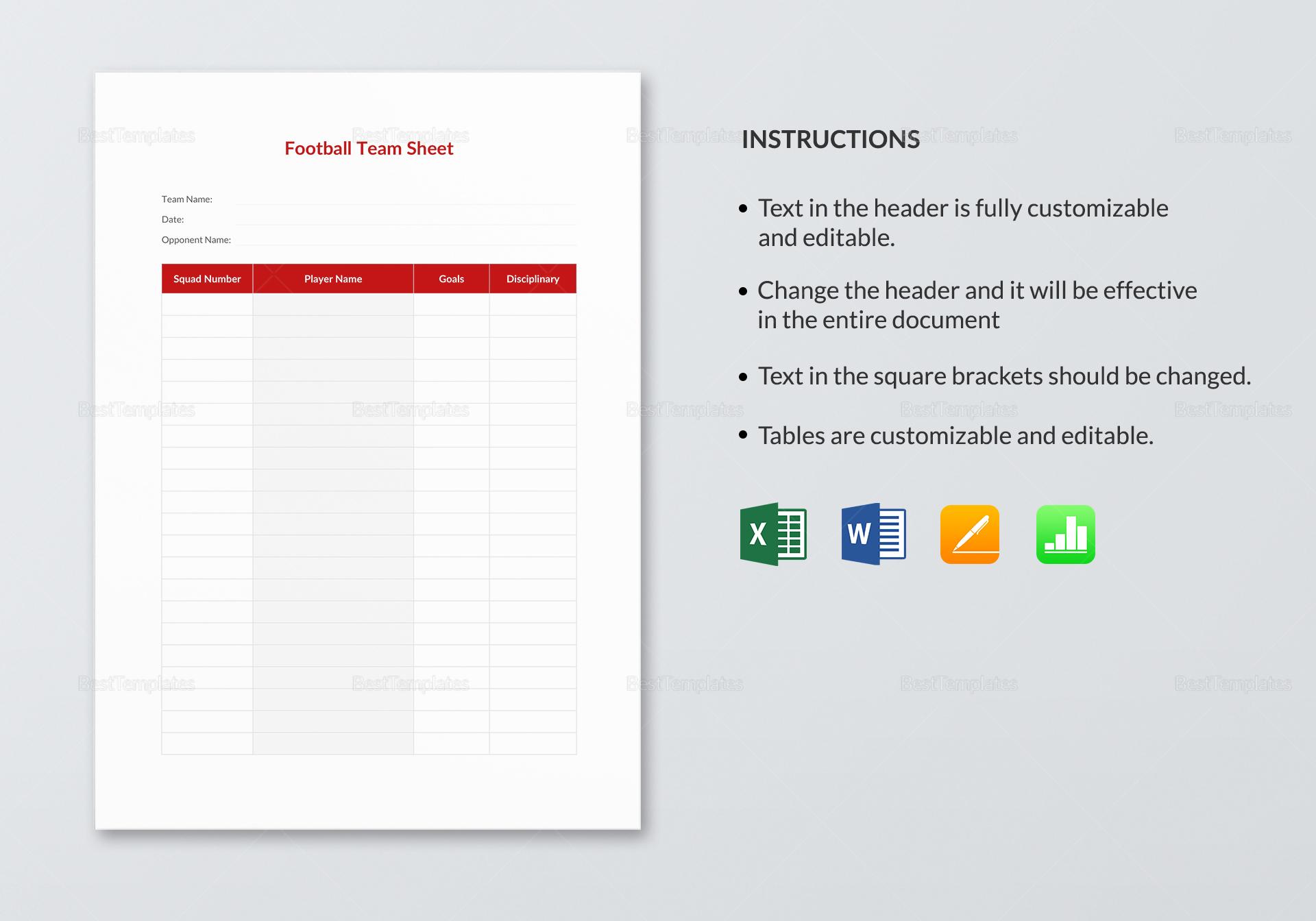Sample Football Team Sheet Template