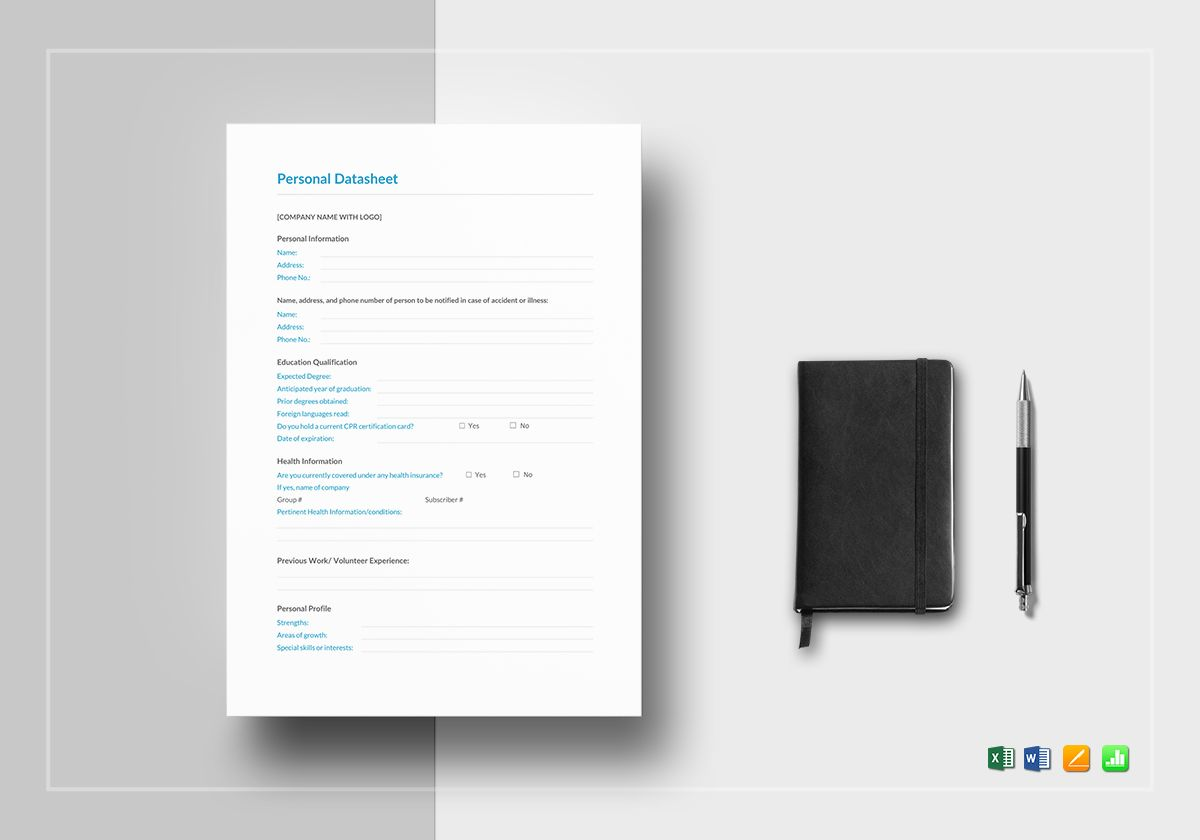 Personal data sheet template topsimages personal datasheet template in word excel apple pages numbers jpg 1200x840 personal data sheet template maxwellsz