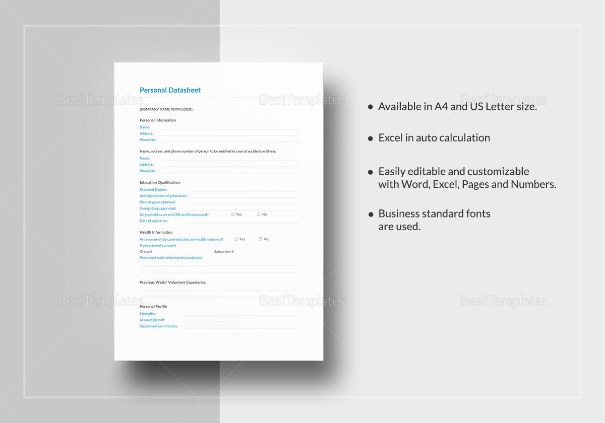Personal Datasheet Template to Print