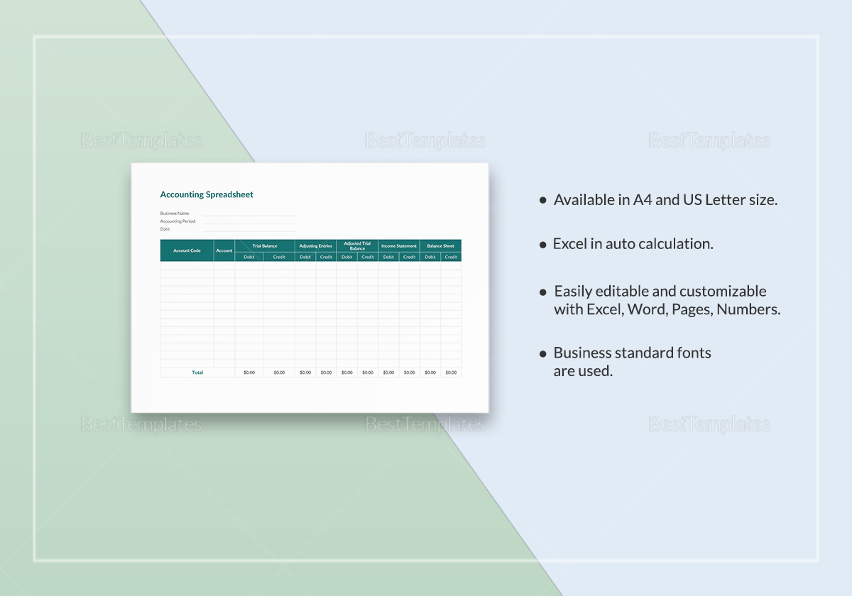 Printable Accounting Spreadsheet Template
