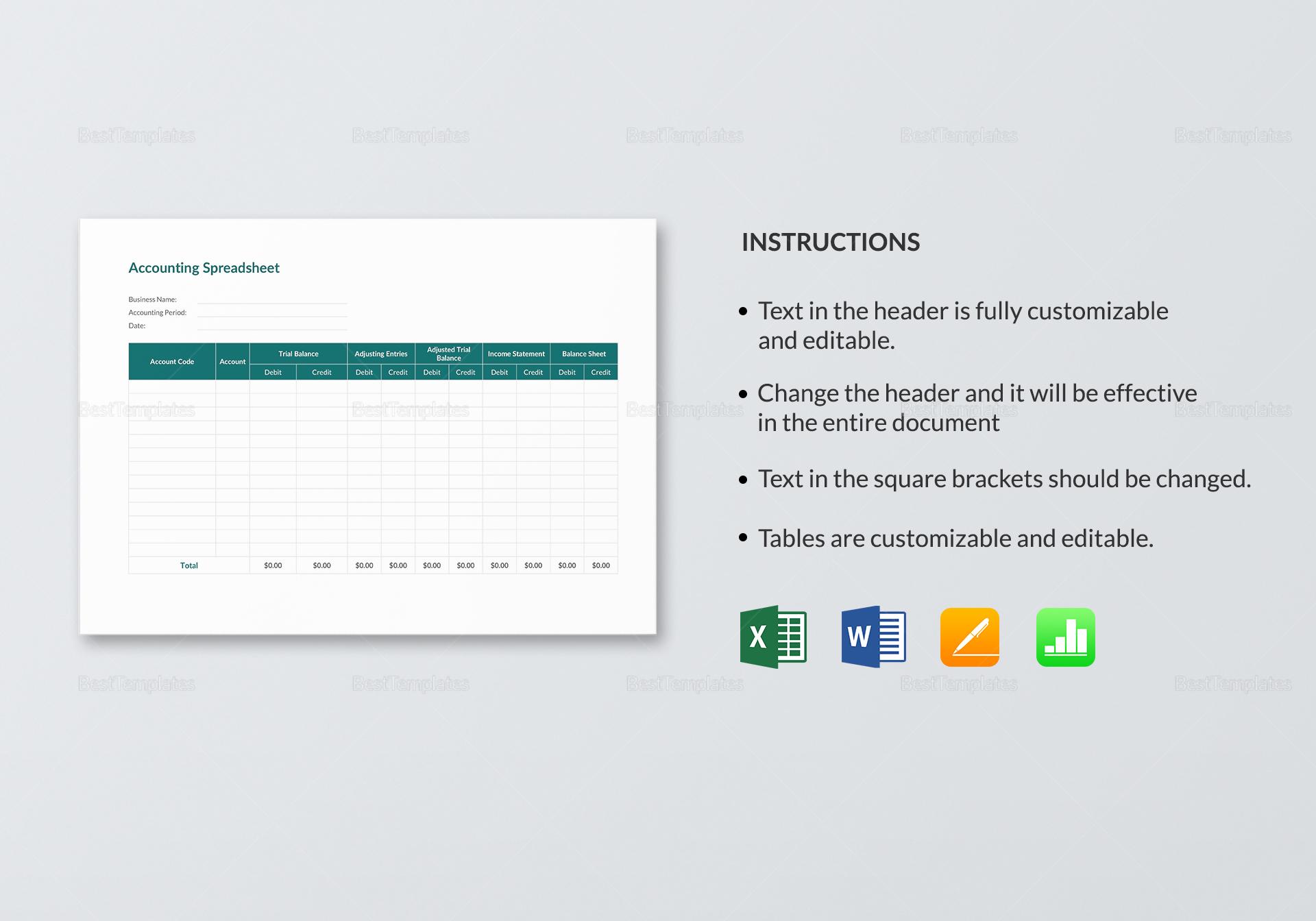 Editable Accounting Spreadsheet Template